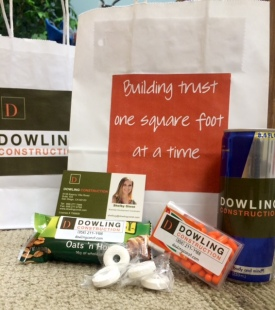goody bag, golf tournament, BOMA, Dowling Construction, Dowling, redbull, tictac