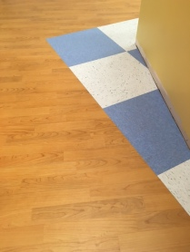 flooring, LVT, VCT, bright color, medical office, TI, tenant improvement, Dowling Construction
